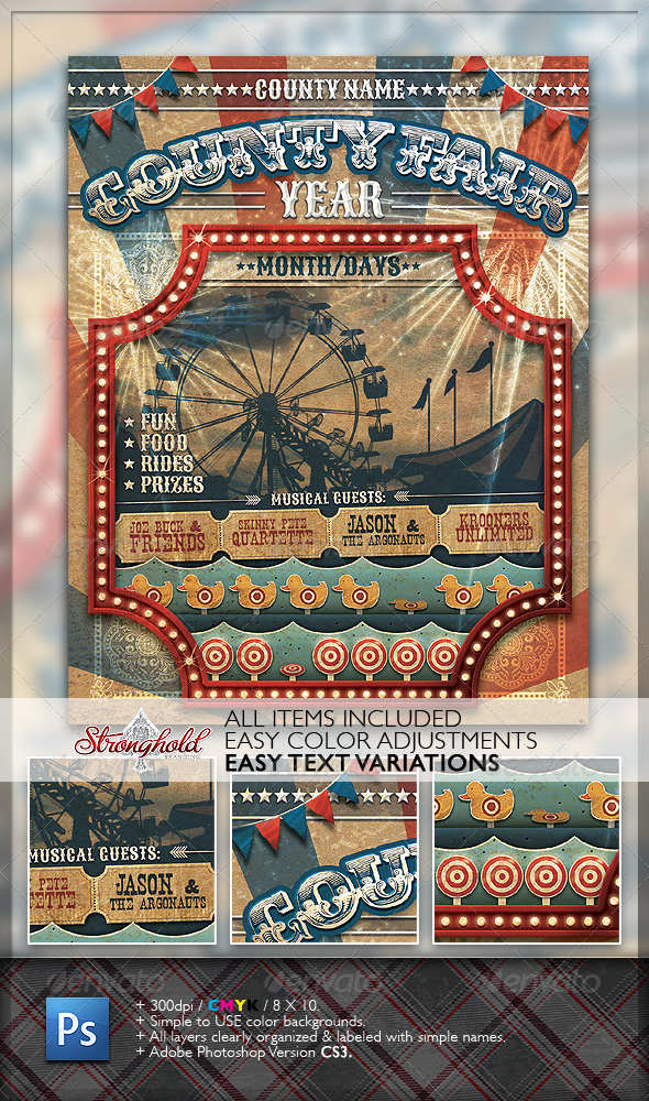 Vintage County Fair Carnival Flyer - Miscellaneous Events