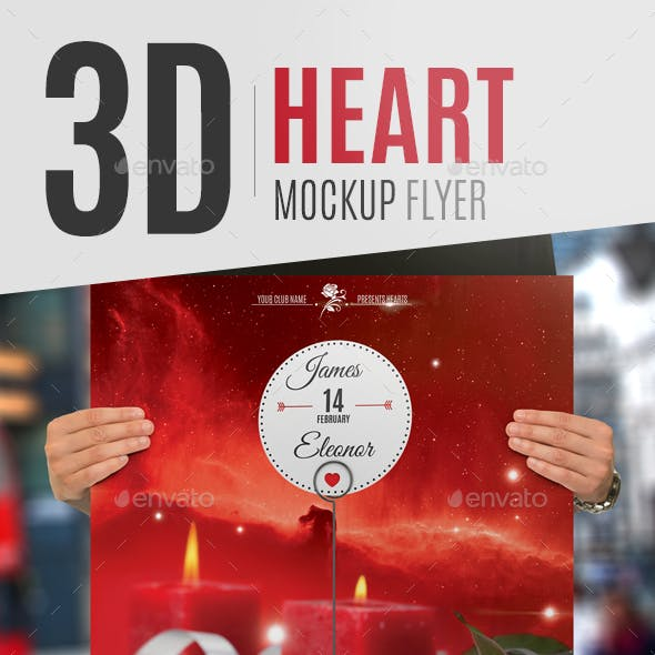 3D Heart Mockup Flyer