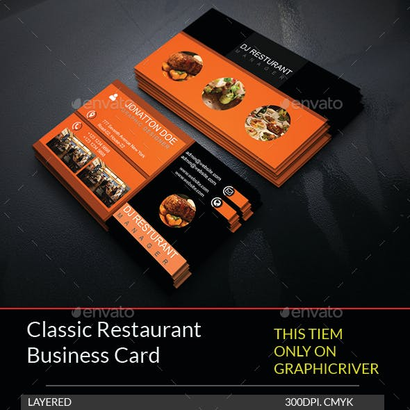 Classic Restaurant Business Card Template.210
