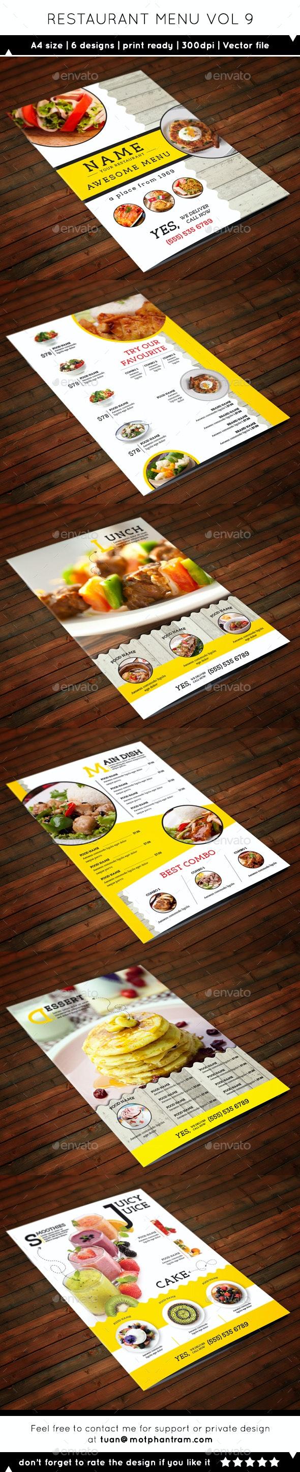 Restaurant Menu A4 Vol9 - Food Menus Print Templates