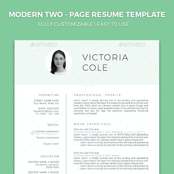 Resume Template with Cover Letter and Reference Letter