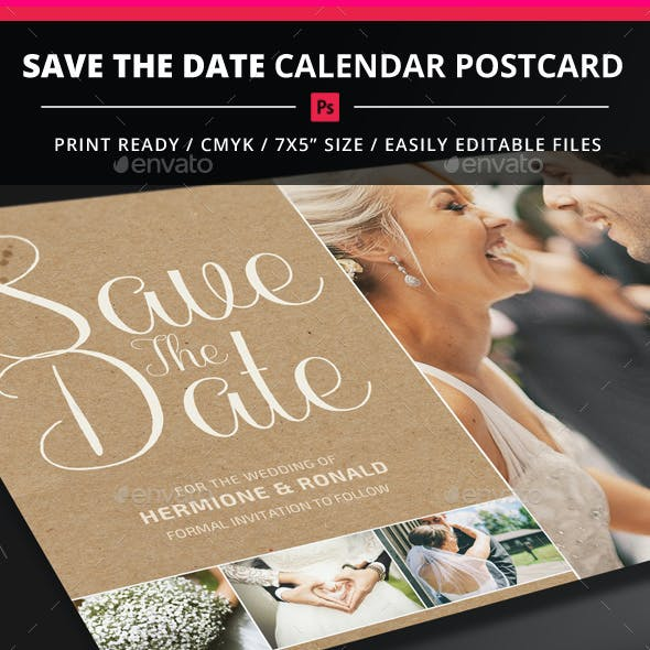 Save The Date Calendar Postcard
