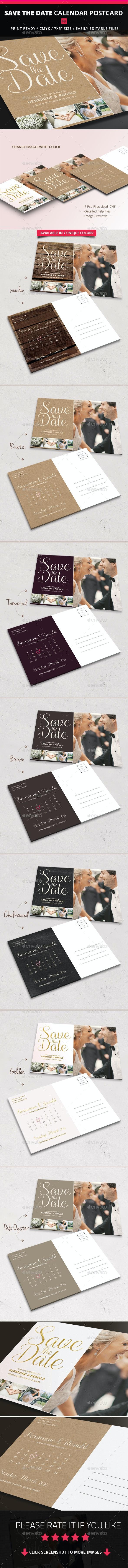Save The Date Calendar Postcard - Weddings Cards & Invites