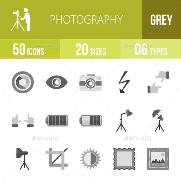 Photography Greyscale Icons
