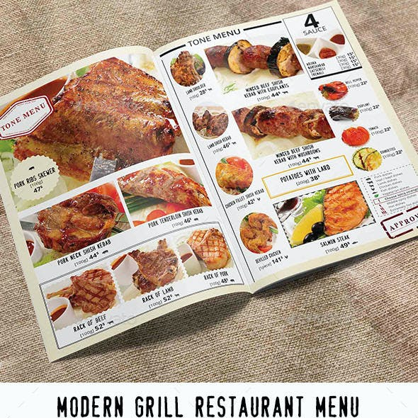 Modern Grill Restaurant Menu. Menu Template