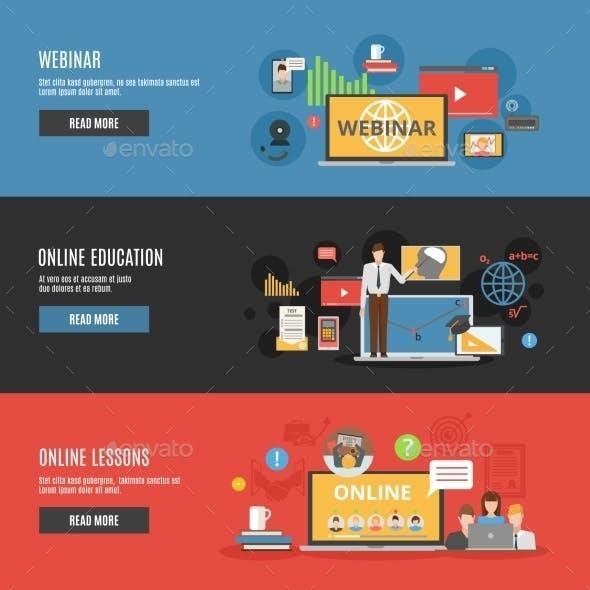 Online Education Flat Horizontal Banners