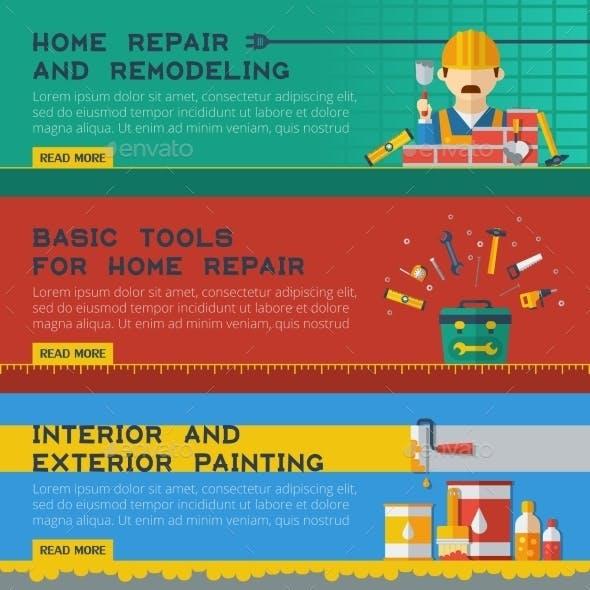 Home Repair Service Flat Banners Set