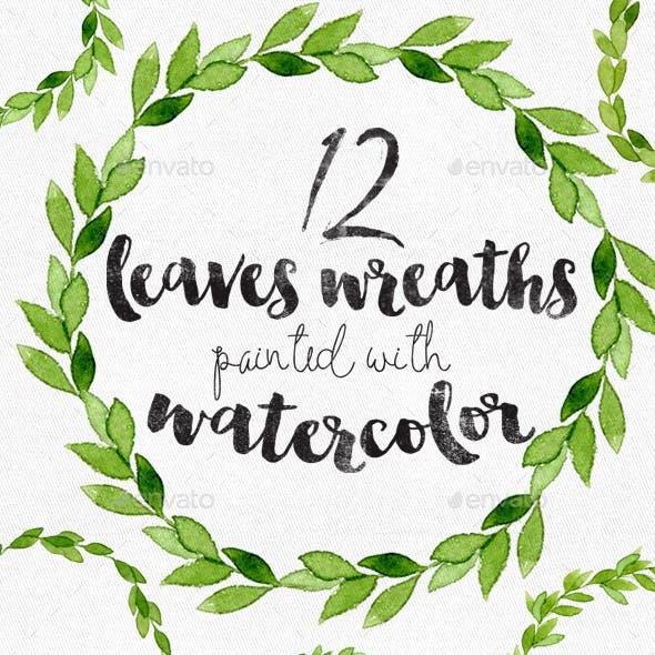 12 Watercolor Leaves Wreaths