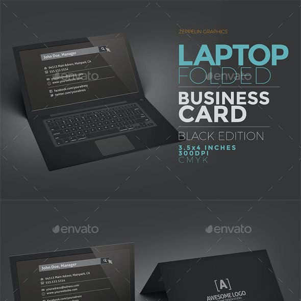 Laptop Business Card Template - Black Edition
