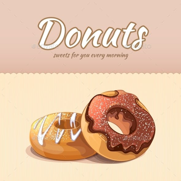 Bakery Shop and Cafe Poster with Donuts