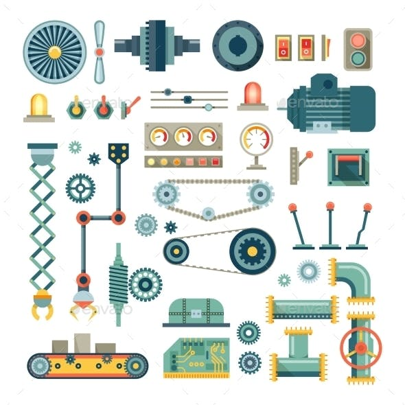 Parts of Machinery and Robot Flat Icons Set