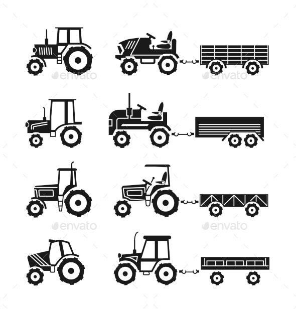 Tractors Icons Set