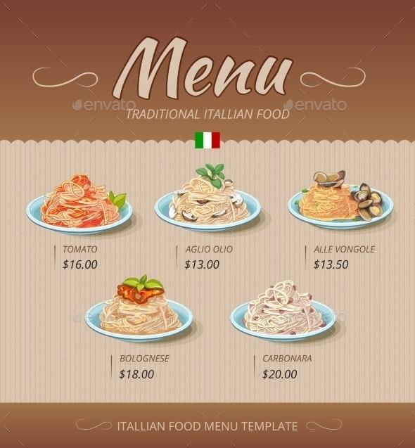 Pasta Restaurant Menu - Food Objects