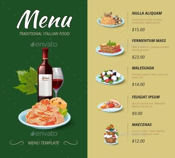 Italian Cuisine Restaurant Menu - Food Objects