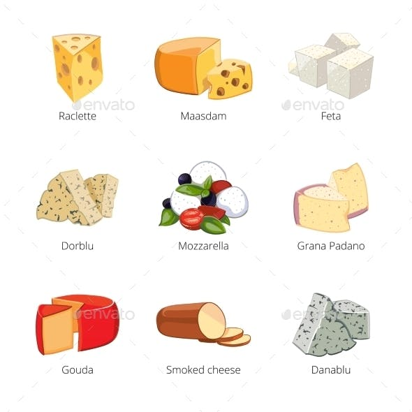 Various Types of Cheese in Cartoon Style