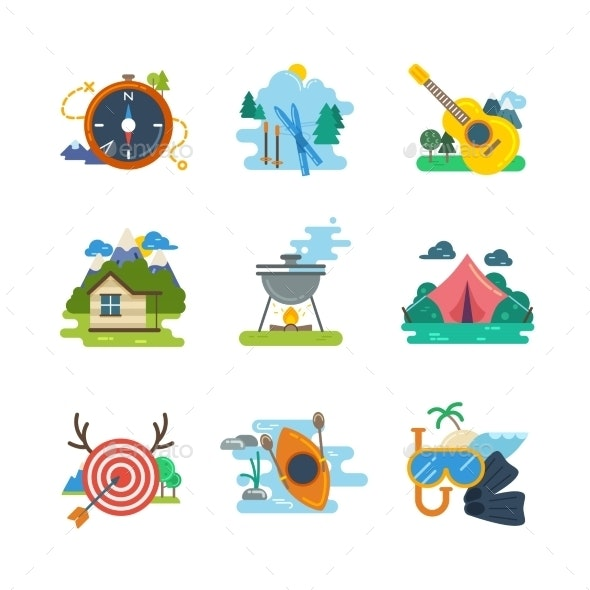 Hiking, Camping Flat Vector Icons Collection - Miscellaneous Vectors