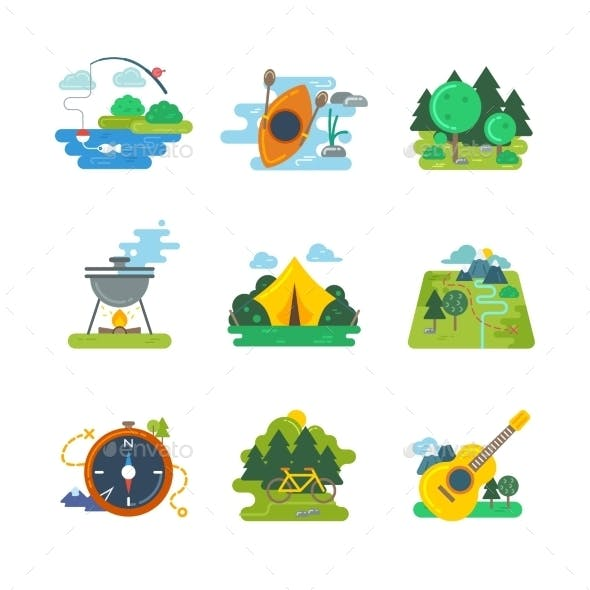 Nature, Outdoor And Forest Activites. Vector Flat