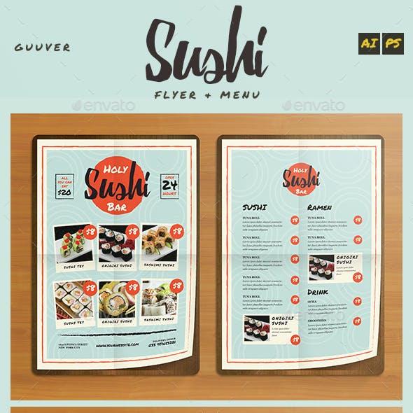 Sushi Bar Restaurant Menu/Flyer