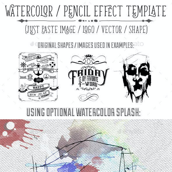 Watercolor or Pencil Press Style Text, Logo, Image Treatment