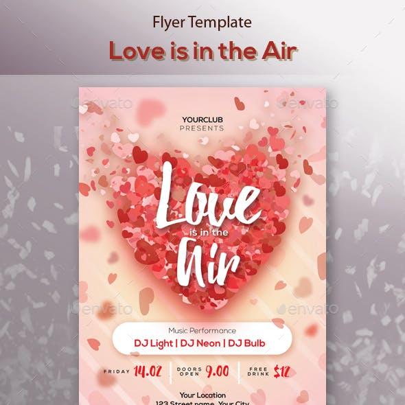 Love is in the Air Party Flyer Template