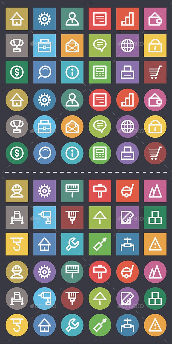 Business and Construction Flat Icons Pack