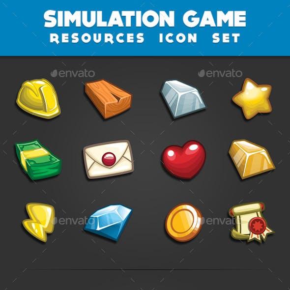 Simulation Game - Resources Icon Set