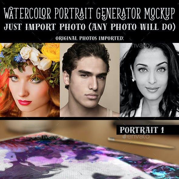 Watercolor Portrait Generator Mockup