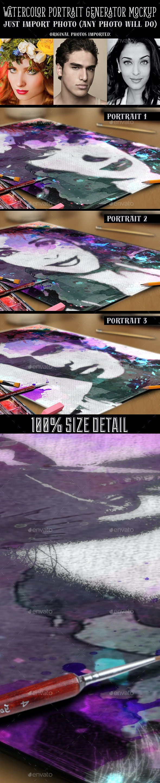 Watercolor Portrait Generator Mockup - Product Mock-Ups Graphics