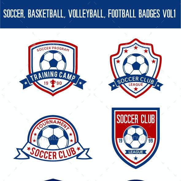 Soccer, Basketball, Volleyball, Football Badges Vol 1