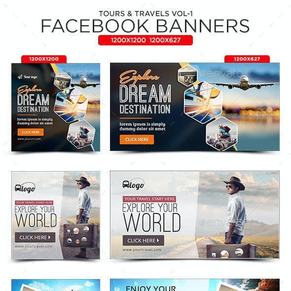 Tours & Travels Facebook Banners - 10 Designs