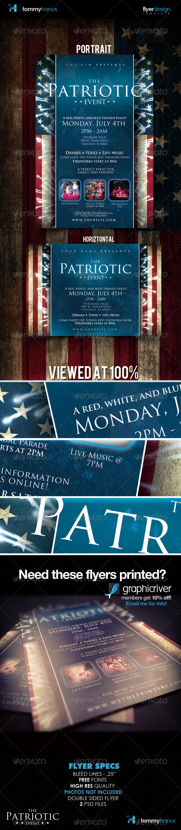 Patriotic 4th Of July Flyer Template - Holidays Events