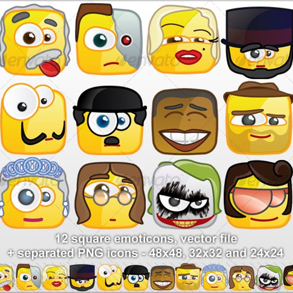 12 Square emoticons - Persons
