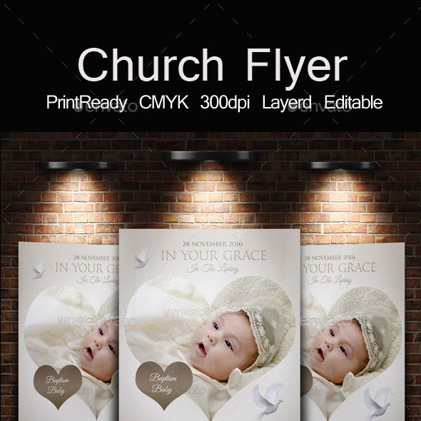 Baptism Sunday Church Psd Flyer Template