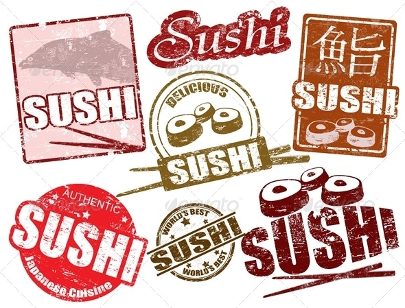 Sushi stamps - Food Objects