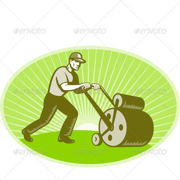 Groundsman Groundskeeper Lawn Roller Woodcut