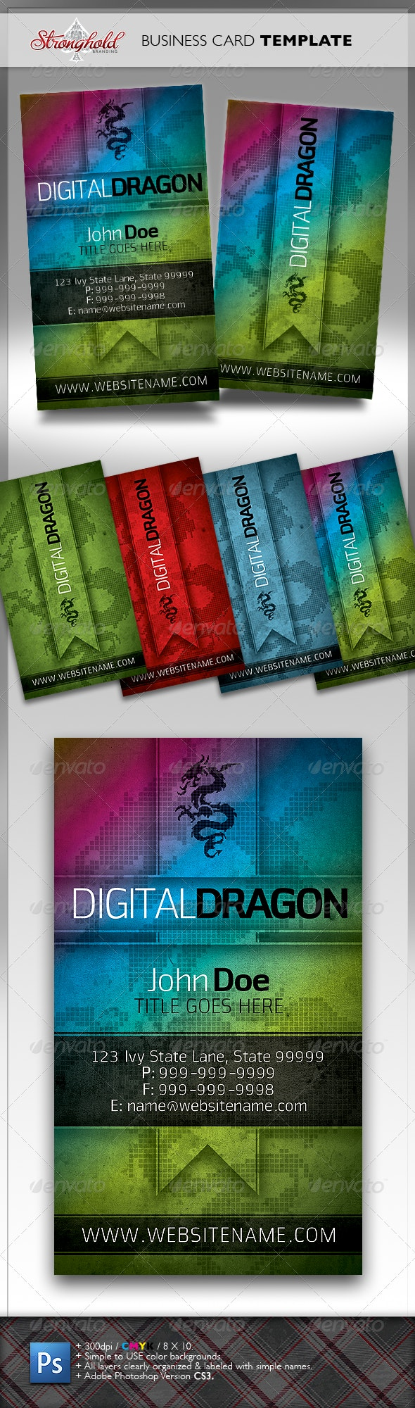 Digital Dragon Business Card Template - Creative Business Cards