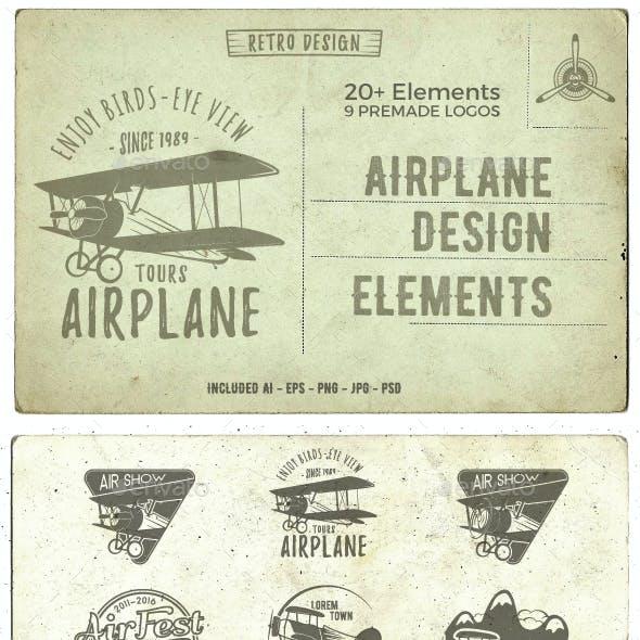 Airplane Badges & Design Elements