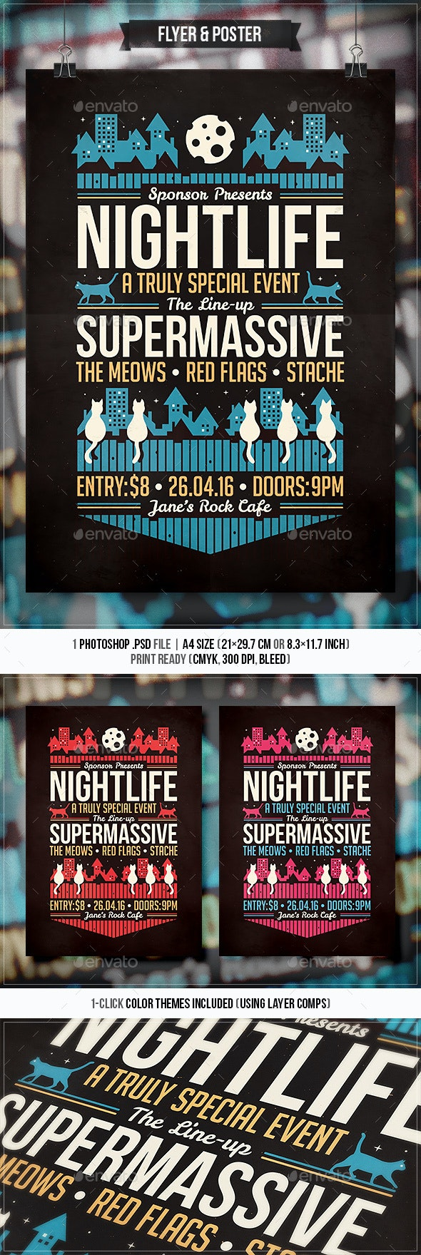 Nightlife - Flyer & Poster - Concerts Events
