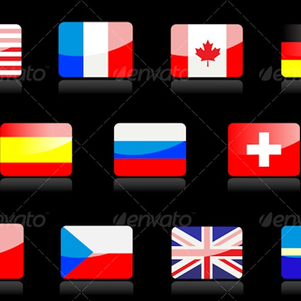 Glossy national flags on the black