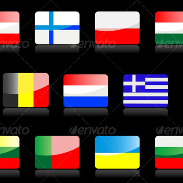 Glossy flags icons.