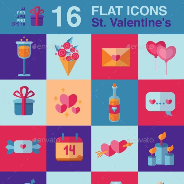 Happy Valentine's Day flat icons set
