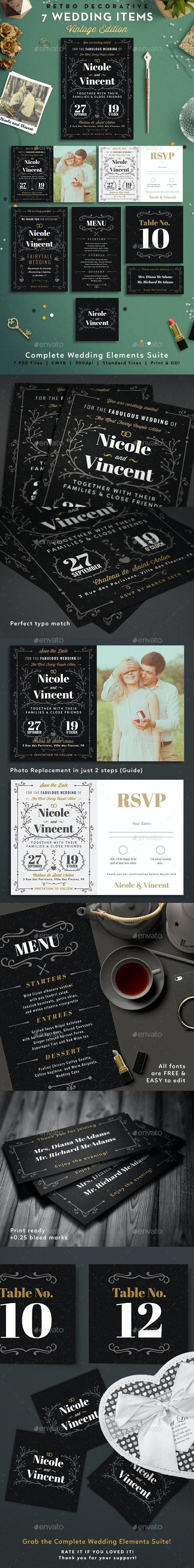 7 Vintage Items - Wedding Pack VII - Weddings Cards & Invites