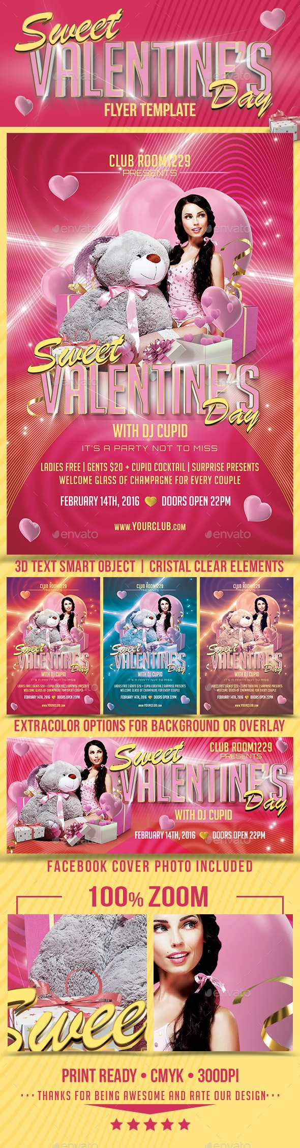 Sweet Valentine's Day Flyer Template & Facebook Cover - Events Flyers