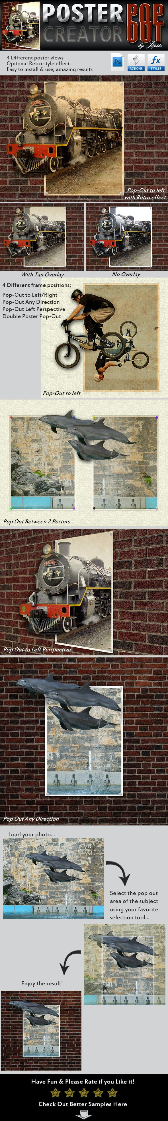 Wall Poster Pop-Out Creator - Photo Effects Actions