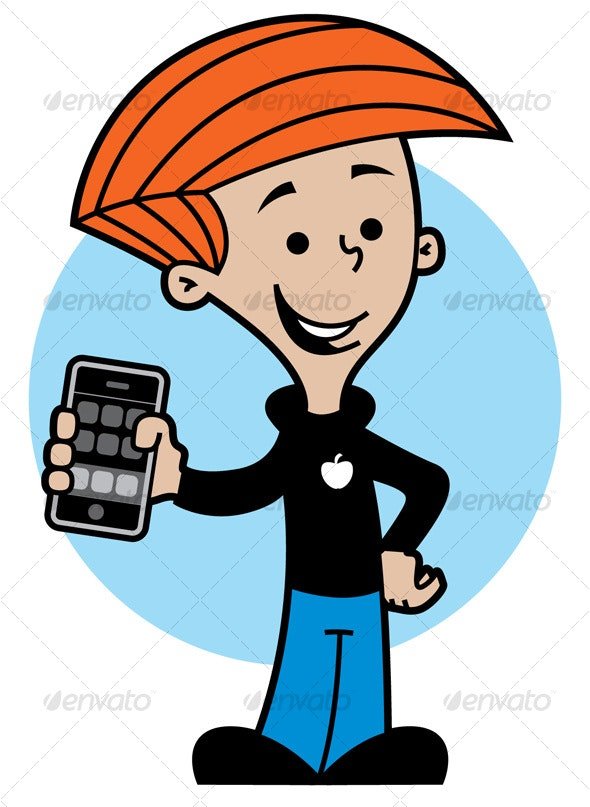 Kid with cell phone - People Characters