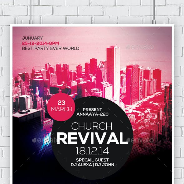 Revival in the City Church Flyer Template
