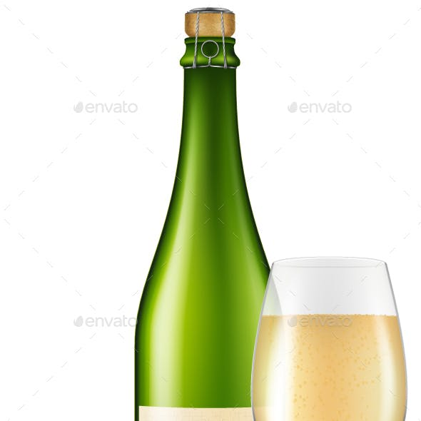 Bottle of Apple Cider with a Glass and an Apple