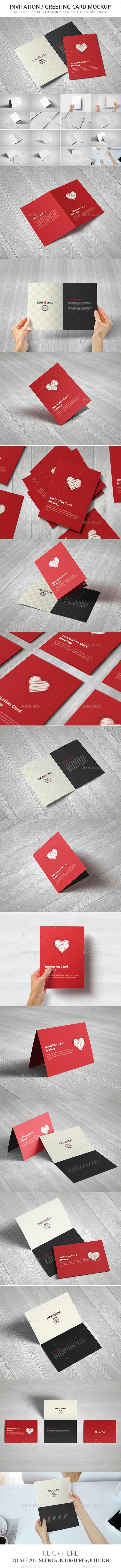 Invitation / Greeting Card / A5 Brochure Mockup - Brochures Print