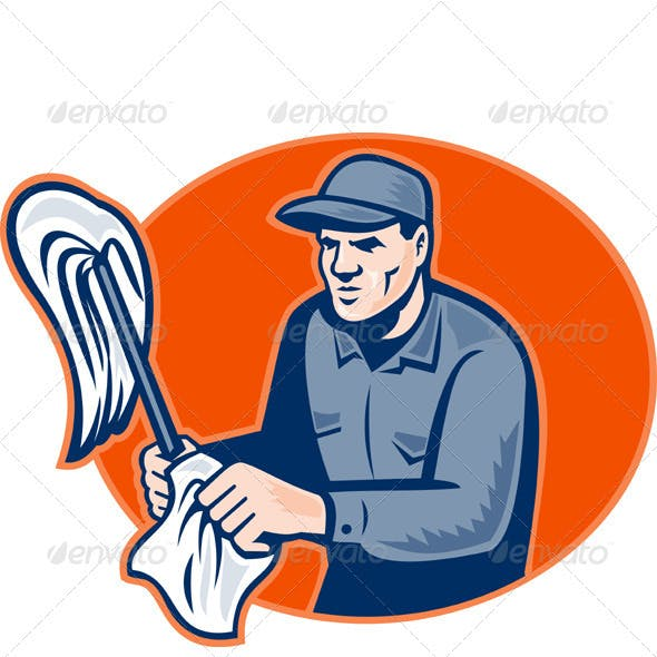 Janitor Cleaner With Mop Wiping Retro Woodcut