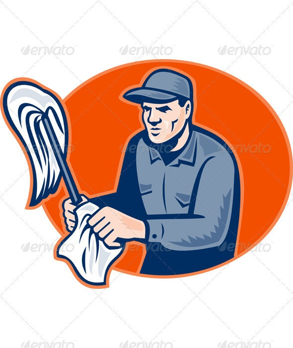 Janitor Cleaner With Mop Wiping Retro Woodcut - Industries Business